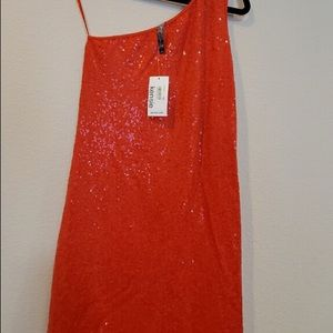 Red orange sparkle cocktail dress by Kensie